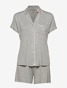 LRL NOTCH COLLAR BOXER PJ SET - GREY HEATHER