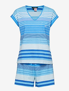 LRL DOLMAN V-NECK & BOXER PJ SET - BLUE STRIPE