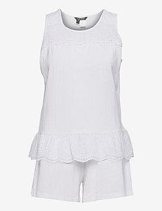 LRL SLVLESS SPLIT NK EYLET BOXER PJ SET - pyjamas - white