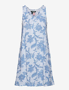 LRL RUFFLE GOWN SL.LESS - BLUE PRINT