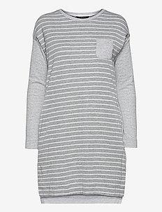 LRL L/S SCOOP NK SLEEPTEE - nachtjurken - grey stripe