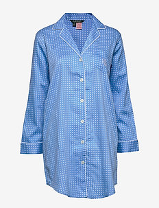LRL POINTED NOTCH COLLAR HIS SLEEPSHIRT - BLUE DOT