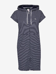 LRL HOODED ZIP LOUNGER DROP SHOULDER - NAVY STRIPE