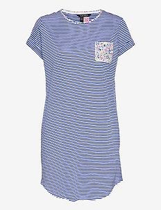 LRL ROLL CUFF SLEEPTEE S/SL - nachtjurken - blue stripe