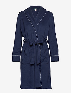LRL SHORT SHAWL COLLAR ROBE - NAVY