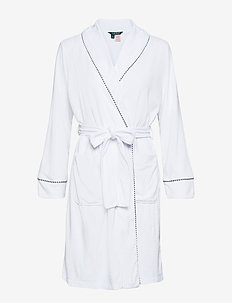 LRL SHORT SHAWL COLLAR ROBE - WHITE