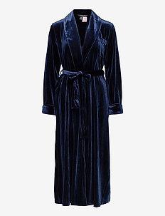 LRL ESSENTIAL LONG SHAWL COLLAR ROBE - bedrok - navy