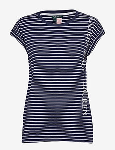 LRL SEPARATE TOP W/LOGO SCREENPRINT - NAVY STRIPE