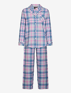 LRL   NOTCH COLLAR LONG PANT PJ SET - pyjama''s - pink plaid