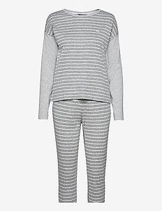 LRL L/S DROP SHOULDER JOGGER PANT PJ SET - pyjamas - grey stripe