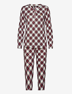 LRL L/S HENLEY TOP JOGGER PANT PJ SET - pyjamas - ivory plaid