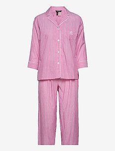 LRL NOTCH COLLAR PJ SET 3/4 SL - pyjamas - pink stripe