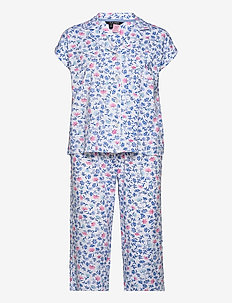 LRL NOTCH COLLAR CAPRI PJ SET DOLMAN SL - pyjamas - white/blue