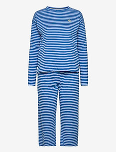LRL ROUND NECK LONG PANT PJ SET L/SL - pyjamas - blue stripe