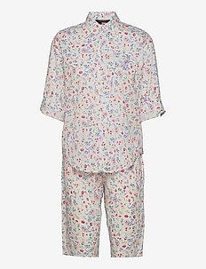 LRL 3/4 ROLL TAB SLV HIS SHIRT CAPRI PJ - pyjamas - ivory pt