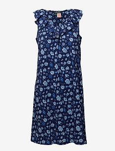 LRL CLASSIC KNITS RUFFLE NECK GOWN - BLUE FLORAL
