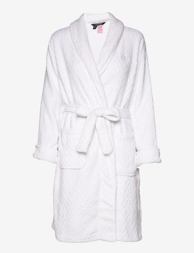 LRL SHAWL COLLAR ROBE 100CM PINK - halāti - white