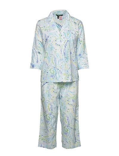 Lrl 3/4 Sl. Notch Collar Capri Pj Set Pyjama Grün LAUREN RALPH LAUREN HOMEWEAR