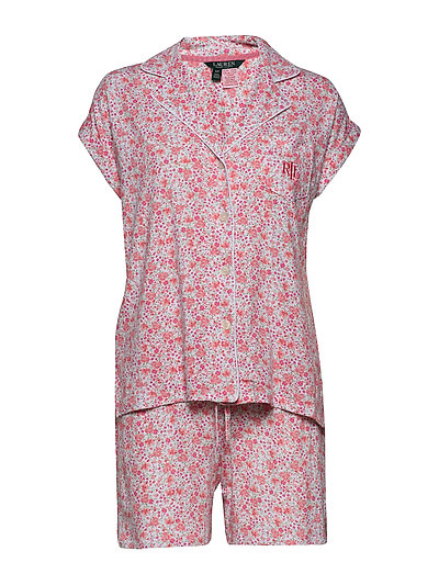 Lrl Drop Shoulder Boxer Pj Set Short Sl. Pyjama Creme LAUREN RALPH LAUREN HOMEWEAR