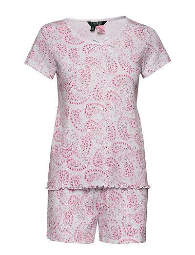 Lrl Sh. Sleeve Lace Nk Boxer Pj Set Pyjama Pink LAUREN RALPH LAUREN HOMEWEAR