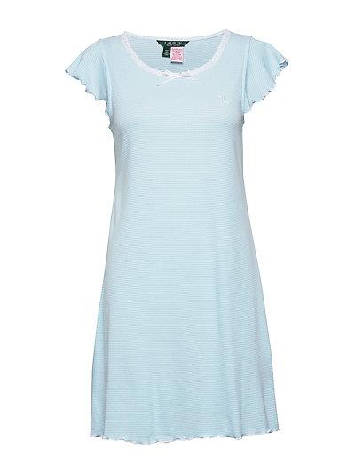 Lrl Flutter Sl Lace Nk Gown Nachthemd Blau LAUREN RALPH LAUREN HOMEWEAR
