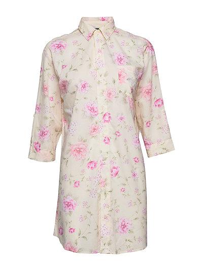 Lrl Roll Tab His Sleepshirt 3/4 Sl. Nachthemd Pink LAUREN RALPH LAUREN HOMEWEAR