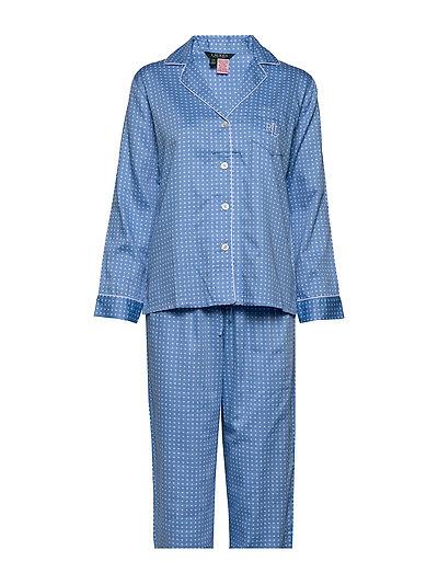 Lrl Pointed Notch Collar Pj Set Pyjama Schwarz LAUREN RALPH LAUREN HOMEWEAR