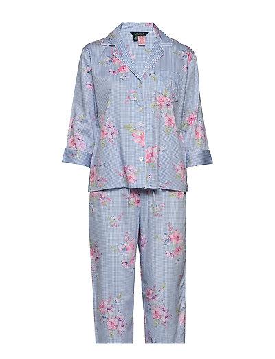 Lrl Pointed Notch Collar Pj Set Pyjama Blau LAUREN RALPH LAUREN HOMEWEAR