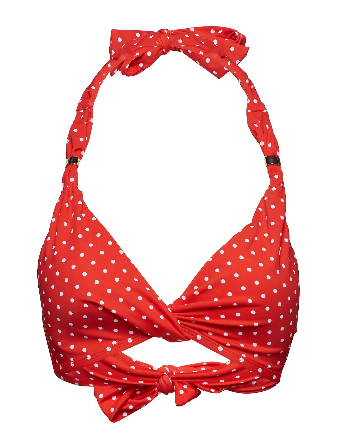 Lauren Ralph Lauren Swimwear Pin Dot Twist Front Halter Bra Badkläder