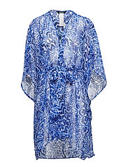 Bias Tribal Ikat Belted Wrap Cover - BLUE