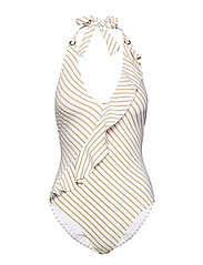 Lauren Ralph Lauren Swimwear Lurex Stripe Ruffle Halter 1pc - GOLD/WHITE