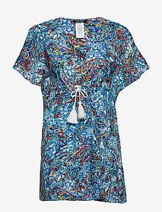 Mystic Paisley Flutter Sleeve Dress - BLUE