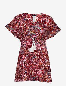 Mystic Paisley Flutter Sleeve Dress - PLUM