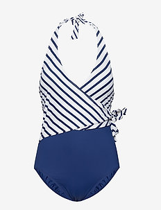 Stripe Mix Asymmetrical Tie 1pc - BLUE