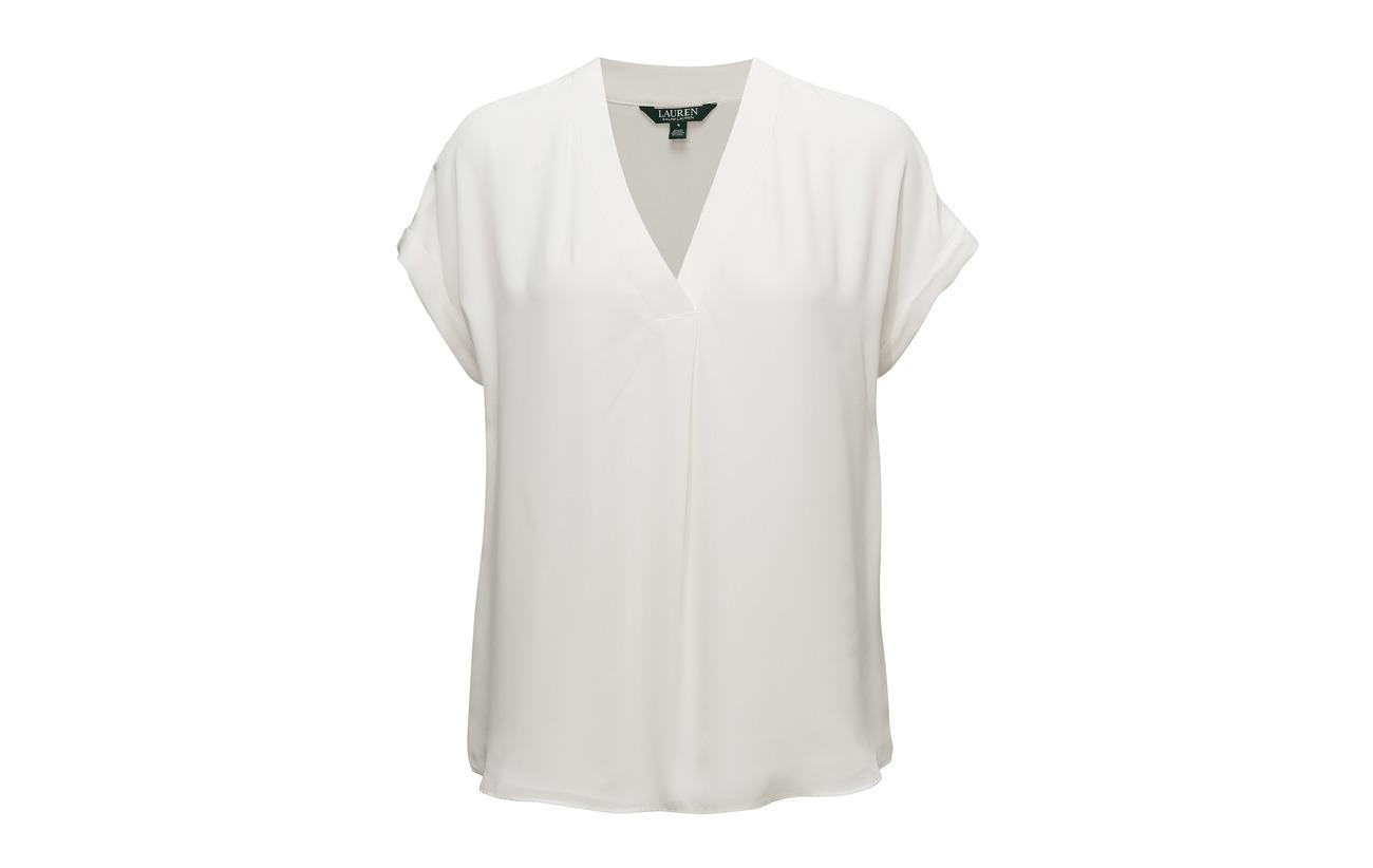 Cream Georgette V 100 Ralph Top Coquille Mascarpone Polyester neck Extérieure Lauren Doublure vwq4Y5Eq