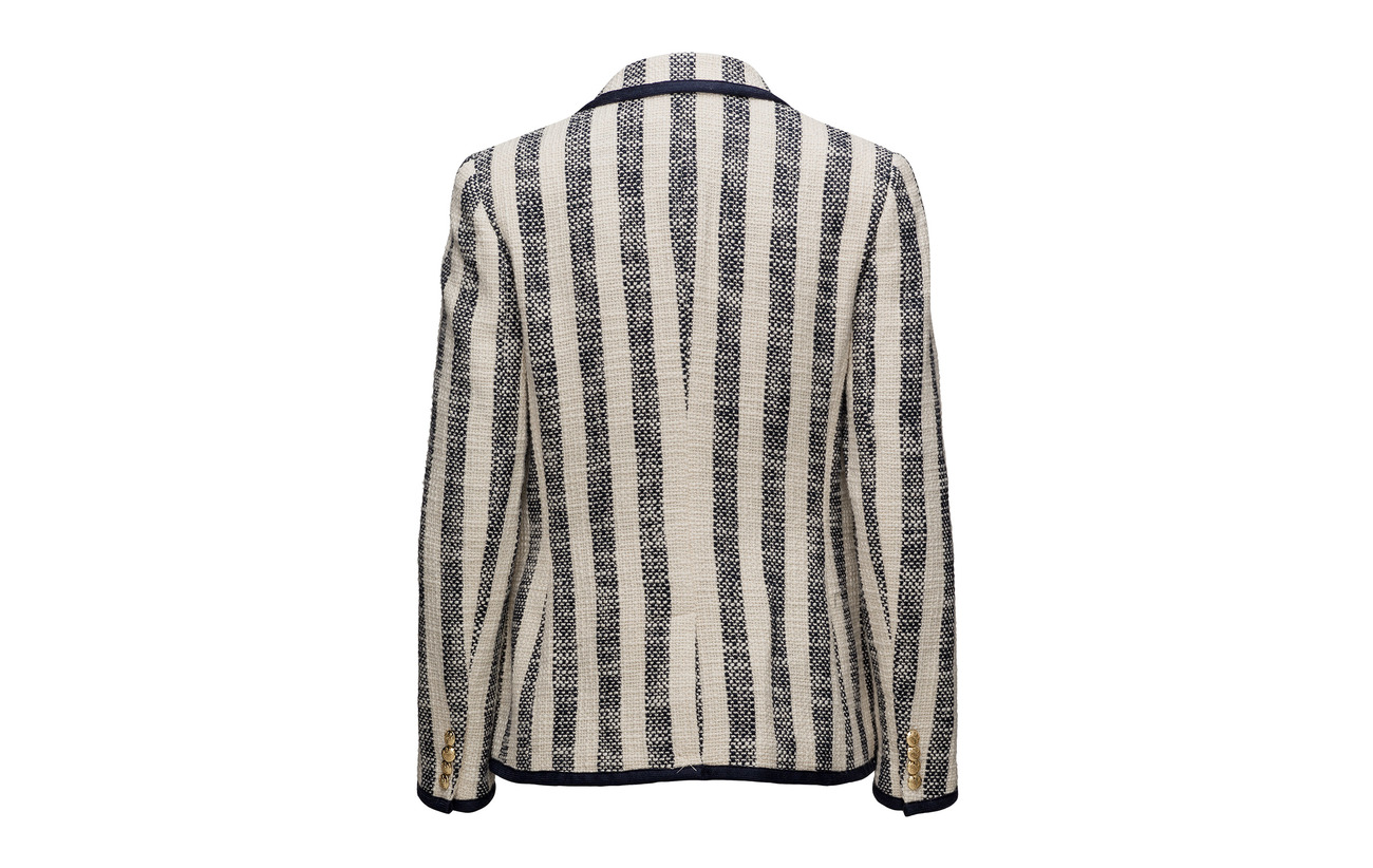 cream Stripe 100 Lauren Ctn Boucle Ralph Coton Jacket Navy stripe RRw0ET