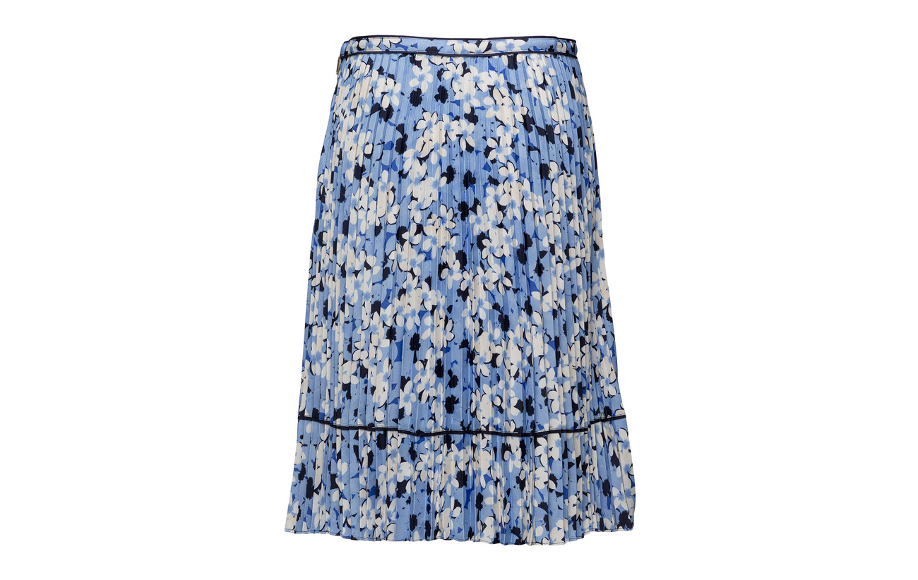 Polyester pleated 100 Skirt Charmeuse Blue Ralph Multi Matte Lauren 8wUtqI