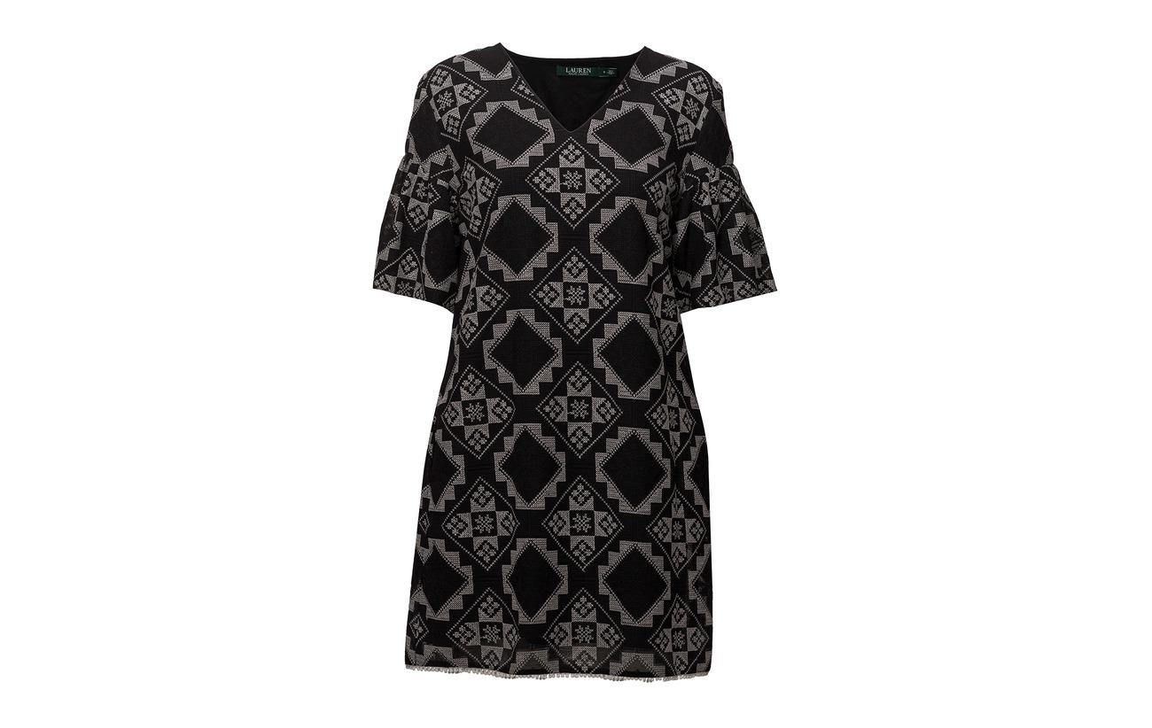 Lauren Polyester Geometric Ralph Black Polo 100 Dress print 0fr0TqxwR
