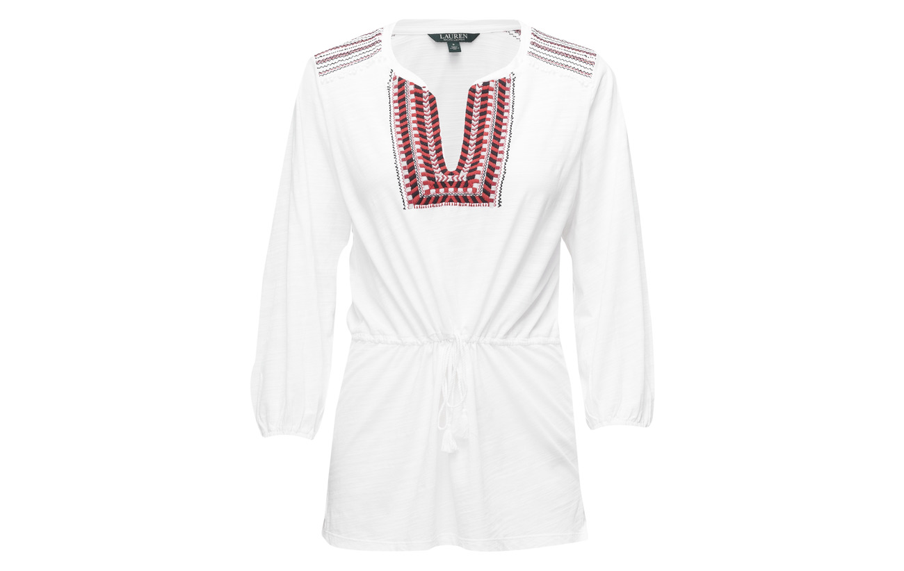 White Coton Blouse Ralph Embroidered Lauren 100 Soft Bohemian g4qX01WwH