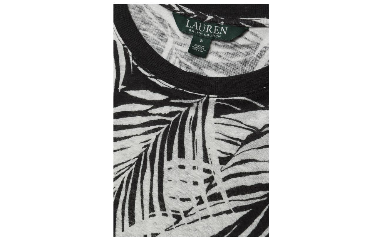 Linen blend Viscose 45 Lauren Top Ralph Lin Black mascarpone Tropical 55 print ItxqTwxFR