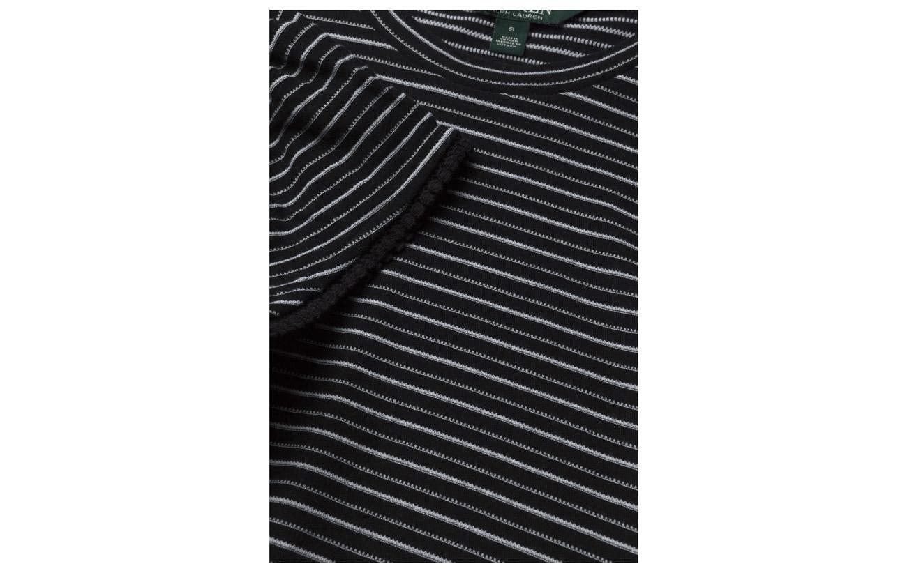 Black Coton sleeve Jacquard Ruffle W Top soft Lauren 70 Polo Polyester 30 Ralph gqYWvv