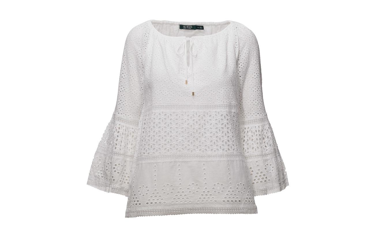Top White Eyelet Bell Floral Ralph 3 Slv 100 Coton 4 Lauren xwE40qHx8