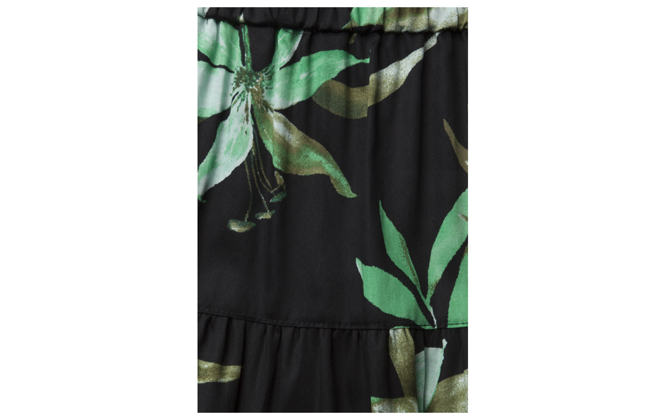 Multi Lauren 100 Ralph Poplin Midi Black print Coton Fern Skirt WAwTwg0Hq