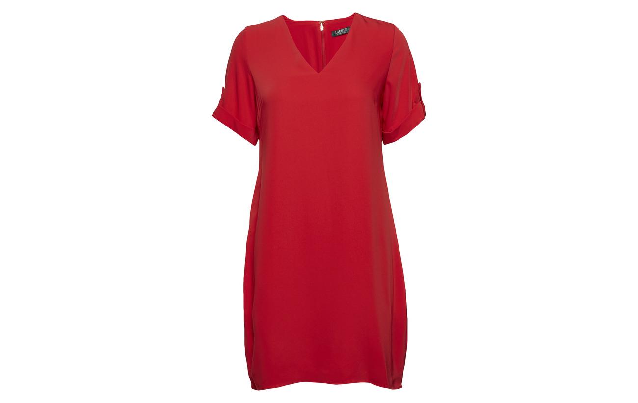 Crimson Ralph tab Nylon 18 sleeve Lauren 50 Shift Modale Dress 32 Roll Coton YEd7n7q