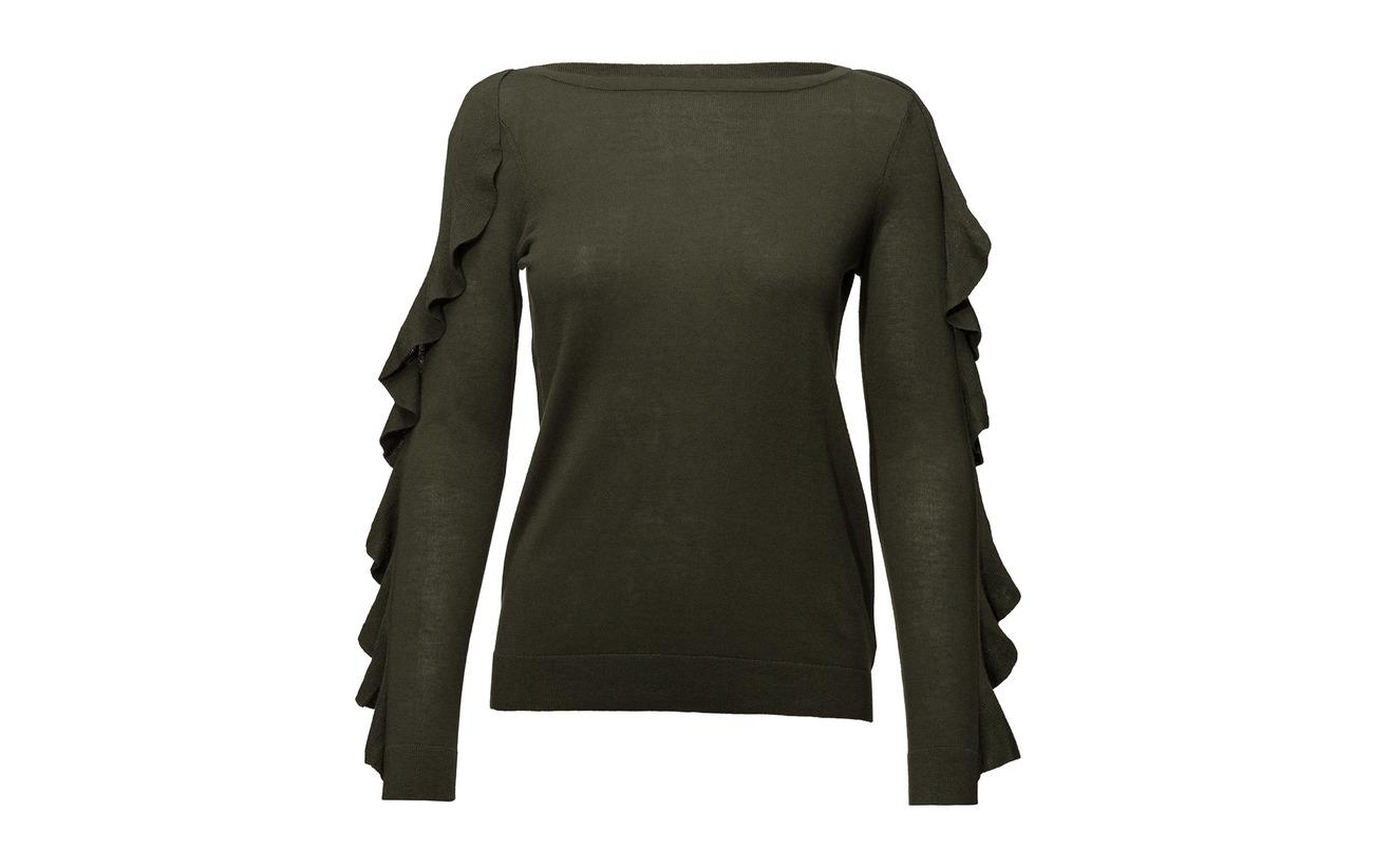42 25 Sweater 33 Demure blend Silk Modale Soie Polyester Ralph Ruffled Lauren Pink IqPa0xx