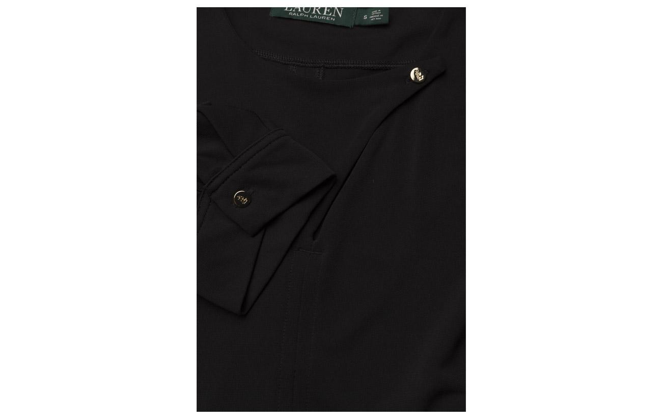 Polo dress Polyester Jersey Elastane Lauren 6 Ralph Str Matte Black 94 w14AUXq