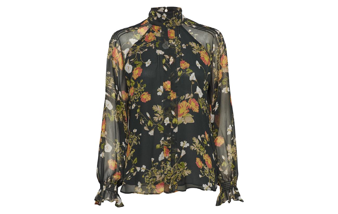 94 Georgette Ralph Lauren Green Floral Multi 6 Blouse Coton Elastane 1qqpnRWY