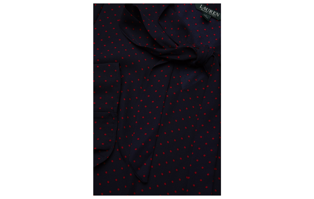 Modale Lauren Top Tie Ralph Coton Nylon 32 neck 18 Navy Georgette crimson 50 UUaqv