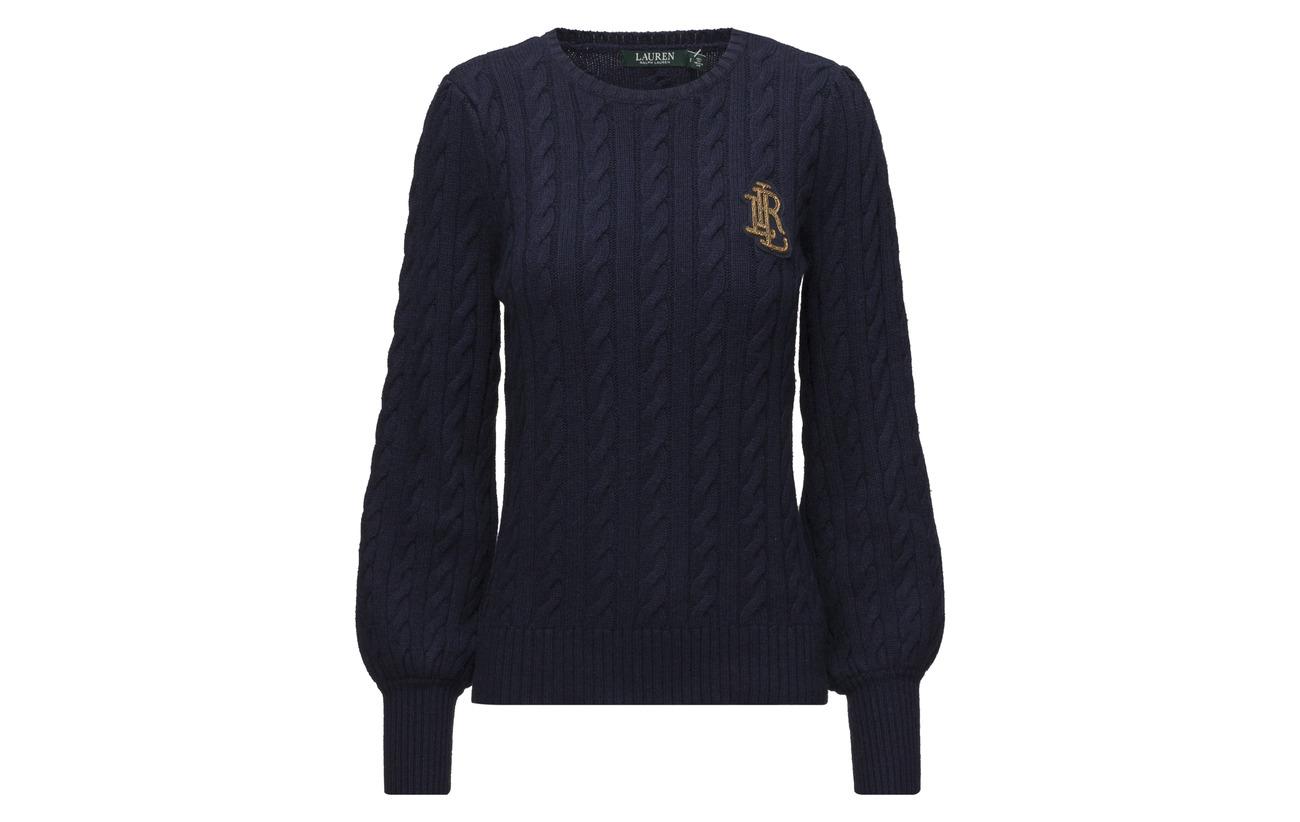 Modale Crest sleeve 50 Puff Navy Ralph 32 Nylon 18 Coton Sweater Cable Lauren SOnZwvqAq