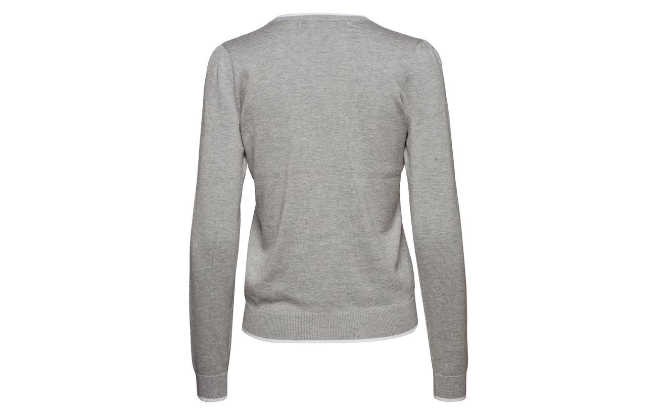 Lauren Cotton 40 Pearl Heathe Sweater 60 Ralph blend Modale Monogram Grey Coton HHRqxZ4grw